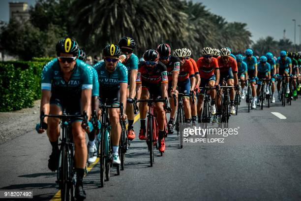 The peloton rides past palm trees near AlManumah during the second stage of the 2018 cycling Tour of Oman from Sultan Qaboos University to AlBustan...