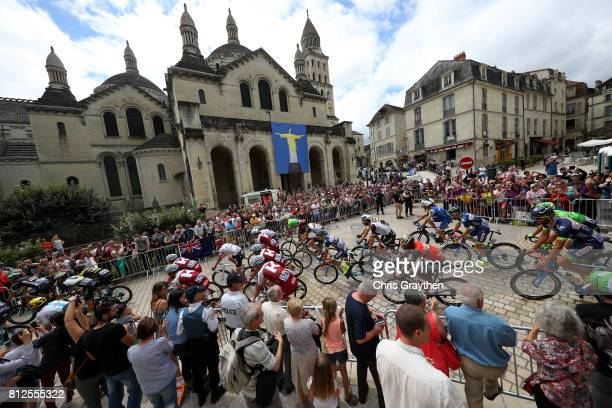 The peloton rides past the St. Front's Perigueux Cathedral during stage 10 of the 2017 Le Tour de France, a 178km stage from Périgueux to Bergerac on...