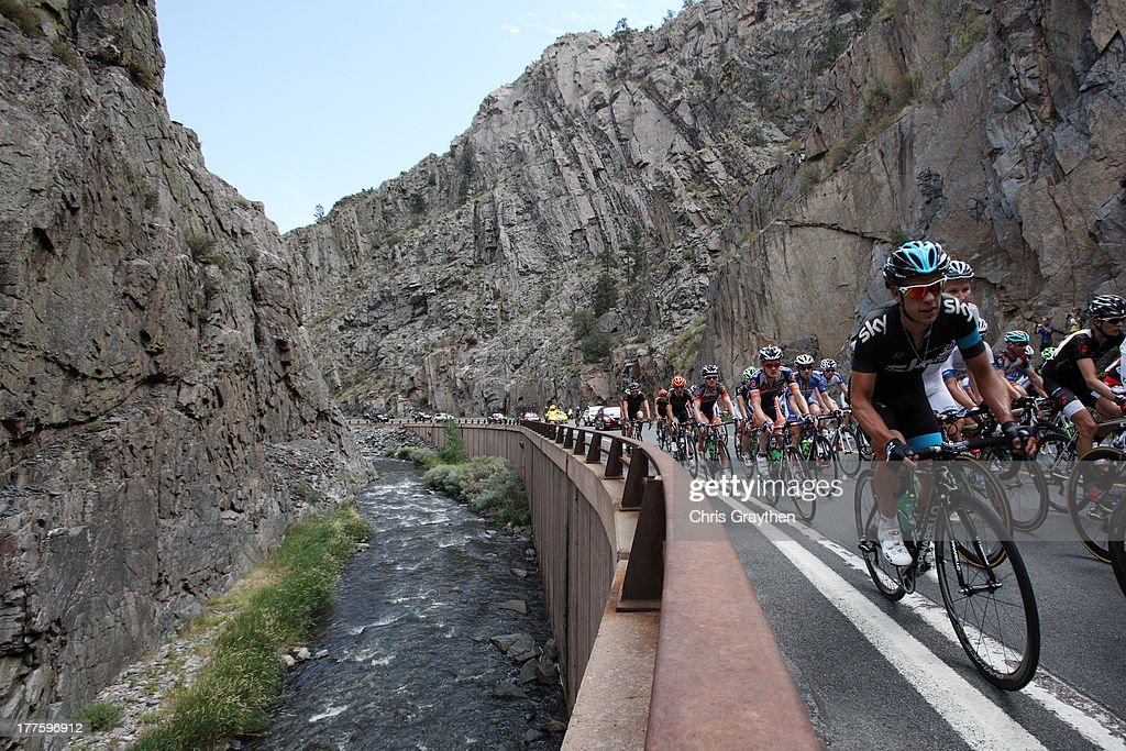 The peloton rides through Big Thompson Canyon during stage six of the USA Pro Challenge on August 24, 2013 in Loveland, Colorado.