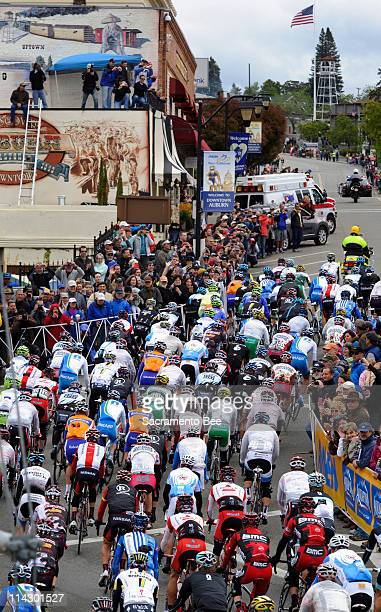 The peloton rides through downtown Auburn California during the 3rd stage of the Amgen Tour of California Tuesday May 17 2011
