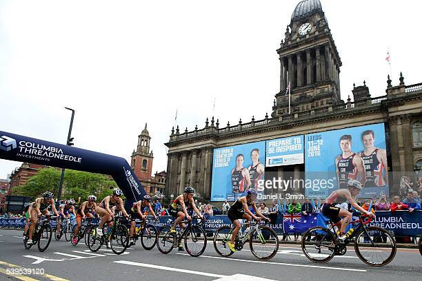 The peloton rides through Leeds City Centre during the 2016 ITU World Triathlon Leeds on June 12 2016 in Leeds England