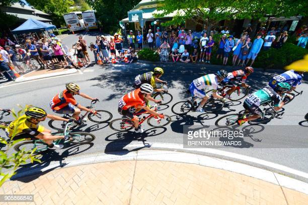 The peloton rides through Stirling on the second day of the Tour Down Under cycling race near Adelaide on January 17 2018 / AFP PHOTO / BRENTON...