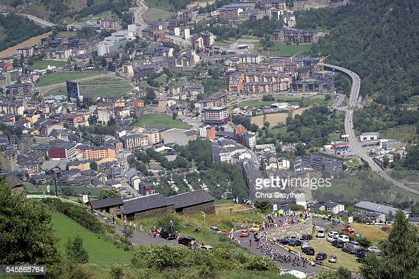 The peloton rides through the Andorra contryside during stage nine of the 2016 Le Tour de France a 1845km stage from Vielha Val d'Aran to Andorre...
