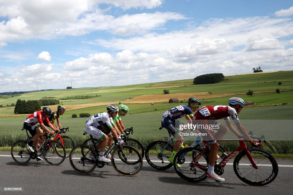The peloton rides through the countryside during stage three of the 2017 Le Tour de France, a 212.5km stage from Verviers to Longwy on July 3, 2017 in Grosbous, Luxembourg.