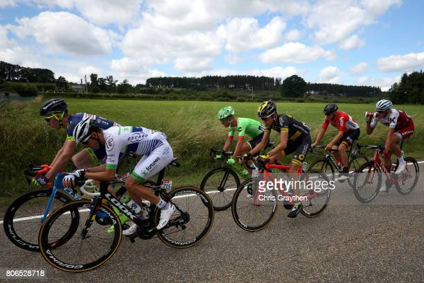 The peloton rides through the countryside during stage three of the 2017 Le Tour de France a 2125km stage from Verviers to Longwy on July 3 2017 in...