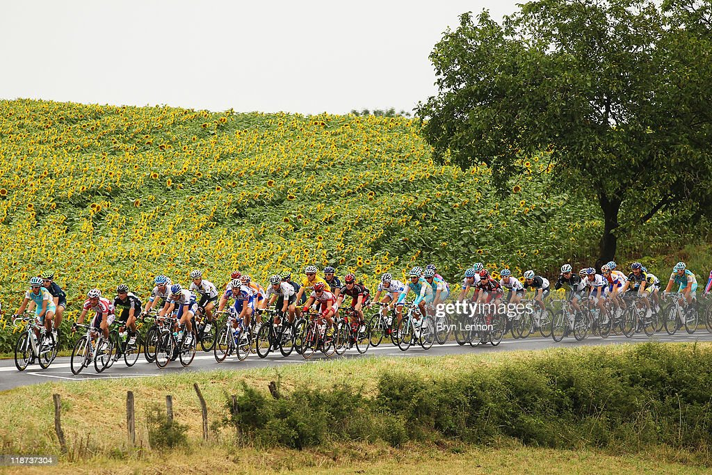The peloton rides through the French countryside on stage nine of the 2011 Tour de France from Issoire to Saint Flour on July 10, 2011 in Saint-Flour, France.
