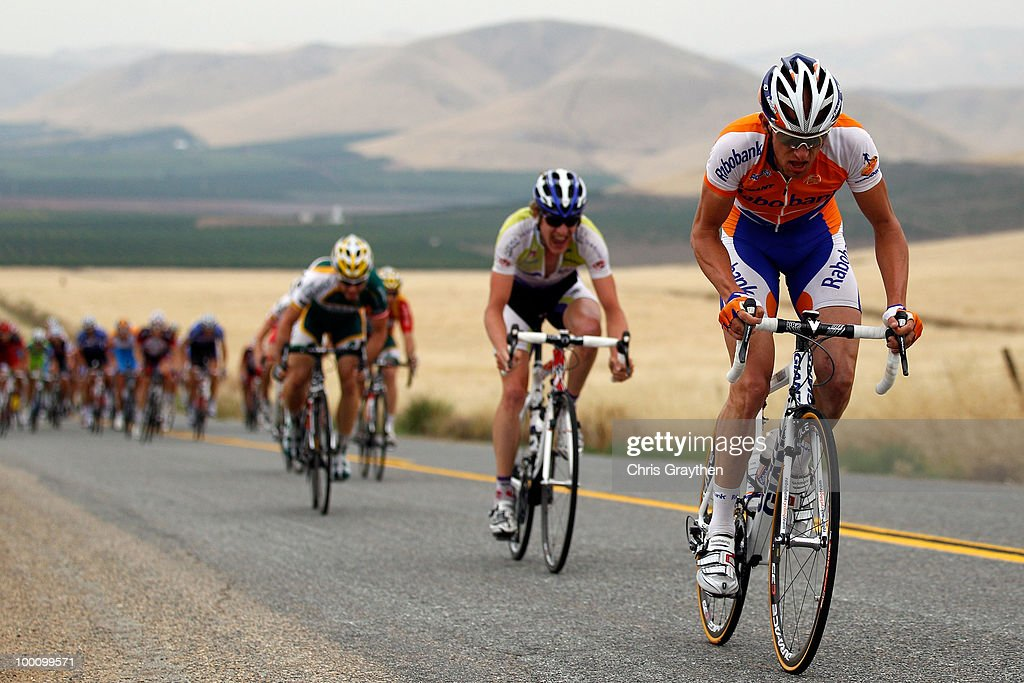 The peloton rides through the hills during stage five of the Tour of California on May 20, 2010 in Tulare County, California.