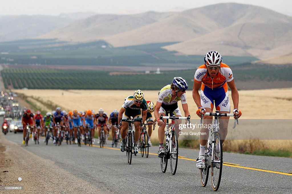 The peloton rides through the hills of stage five during the Tour of California on May 20, 2010 in Kern County, California.