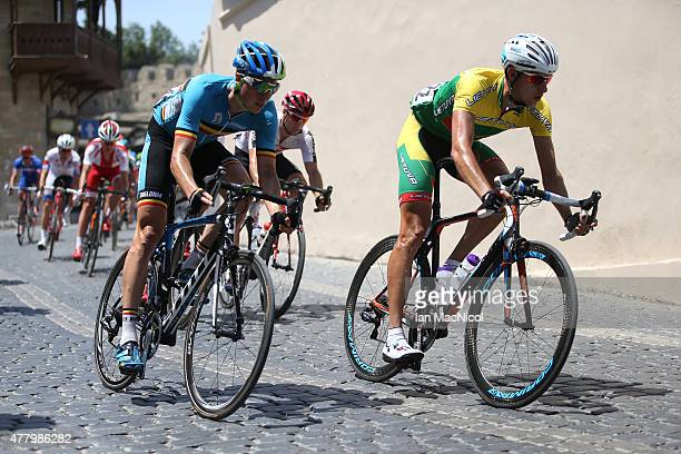 The Peloton rides through the Old City during The Men's Road Race during day eight of the Baku 2015 European Games at Freedom Square on June 21 2015...
