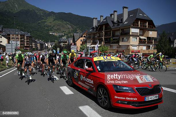 The peloton rides through the Spanish countryside during stage nine of the 2016 Le Tour de France a 1845km stage from Vielha Val d'Aran to Andorre...