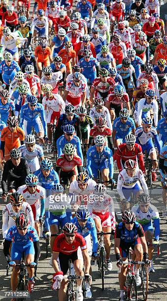 The peloton rides through the streets during the men's road race in the UCI Road World Champioship in the southern German city of Stuttgart, 30...