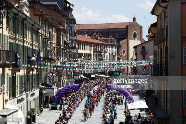 The peloton rides through the town of Saluzzo during stage twelve of the 102nd Giro d'Italia Tour of Italy cycle race 158kms from Cuneo to Pinerolo...