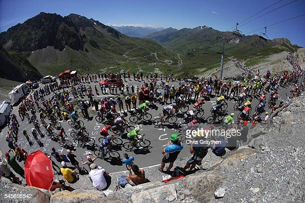 The peloton rides up the Col du Tourmalet during stage eight of the 2016 Le Tour de France a 184km stage from Pau to BagneresDeLuchon on July 9 2016...