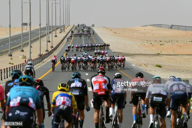 The Peloton riding in echelons formation due crosswind during the 3rd UAE Tour 2021, Stage 1 a 176km stage from Al Dhafra Castle to Al Mirfa / Desert...