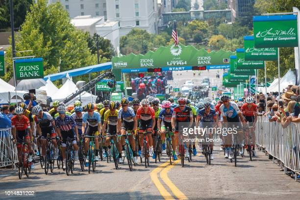 The peloton rolls out for stage 4 of the 14th Larry H Miller Tour of Utah on August 10 2018 in Salt Lake City Utah