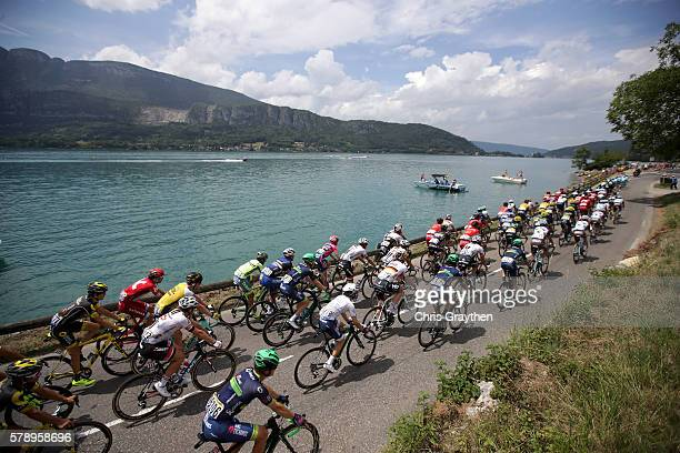 The peloton rolls through the French countryside during stage ninteen of the 2016 Le Tour de France a 146km stage from Albertville to Saint Gervais...