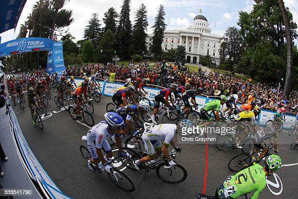 The peloton starts in downtown during stage 8 of the Amgen Tour of California on May 22 2016 in Sacramento California