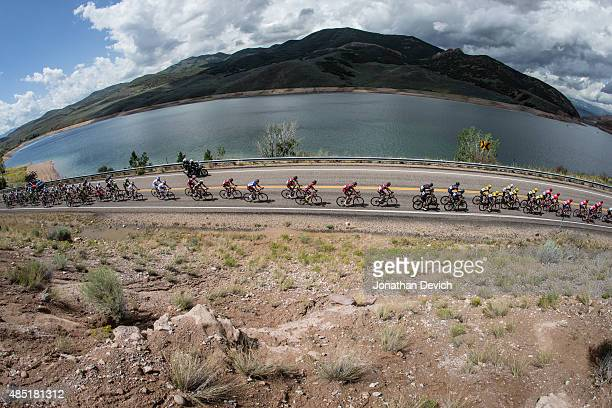 The peloton starts to get strung out as they pass the East Canyon Reservoir during stage 6 of the Tour of Utah on August 8 2015 in Salt Lake City Utah