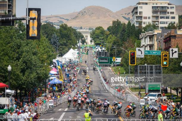 The peloton turns onto the finishing straight of todays stage 4 circuit in Salt Lake City during the 14th Larry H Miller Tour of Utah on August 10...