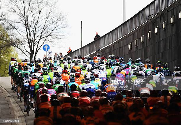 The pelton ride towards Bastogne during the 98th LiegeBastogneLiege cycle road race on April 22 2012 in Liege Belgium