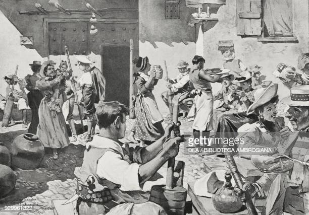The Penaggeri festival in Valsassina Italy drawing by R Pellegrini from L'Illustrazione Italiana Year XXXII No 43 September 22 1905