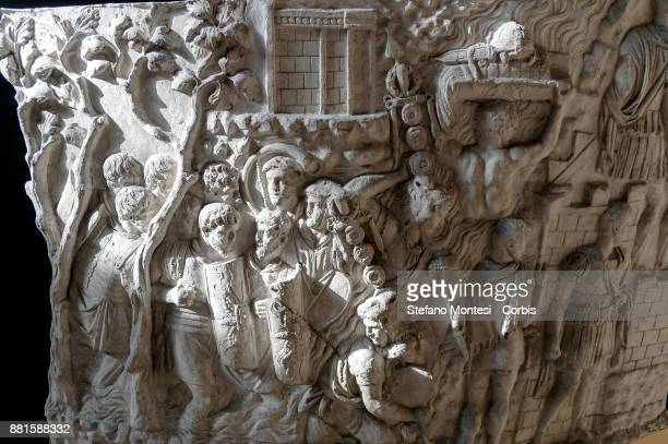 The penetration of the Roman Army in Dacian territory shown on a cast made from one of the reliefs from Trajan's Column dating from 113 AD on...