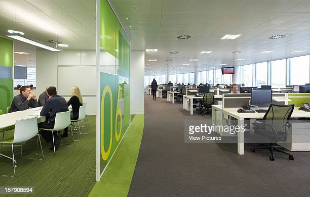 Sr/Sheppard Robson Manchester Open Plan Office And View Into Green Meeting Room Office Architect