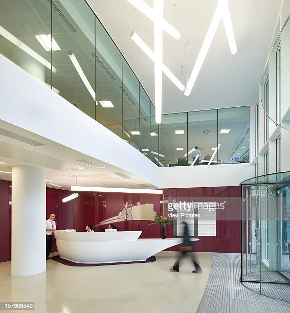 Sr/Sheppard Robson, Manchester Reception Area With Purple Wall,Office, Architect, .
