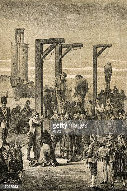 The Peninsular War Death of religious Juan Gallifa and Pou Aulet and another resintant by hanging by the French 2 June of 1809 Barcelona Catalonia...