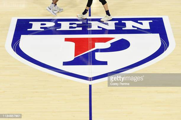 The Penn logo is shown before the game between the Pennsylvania Quakers and the Yale Bulldogs at The Palestra on March 8 2019 in Philadelphia...