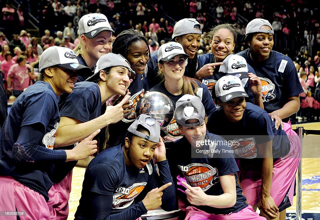 The Penn State Lady Lions celebrate getting the Big Ten regular season title after a 68-57 win over Michigan in State College, Pennsylvania, Sunday, February 24, 2013.