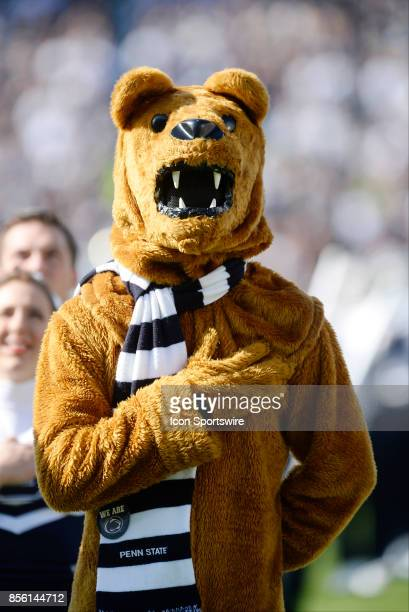 The Penn State Nittany Lion mascot stands with his hand over his heart during the national anthem The Penn State Nittany Lions defeated the Indiana...