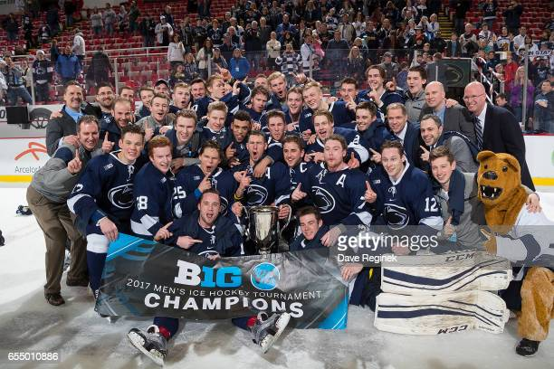 The Penn State Nittany Lions defeated the Wisconsin Badgers 21 in the second overtime period during the Big Ten Men's Ice Hockey Tournament...