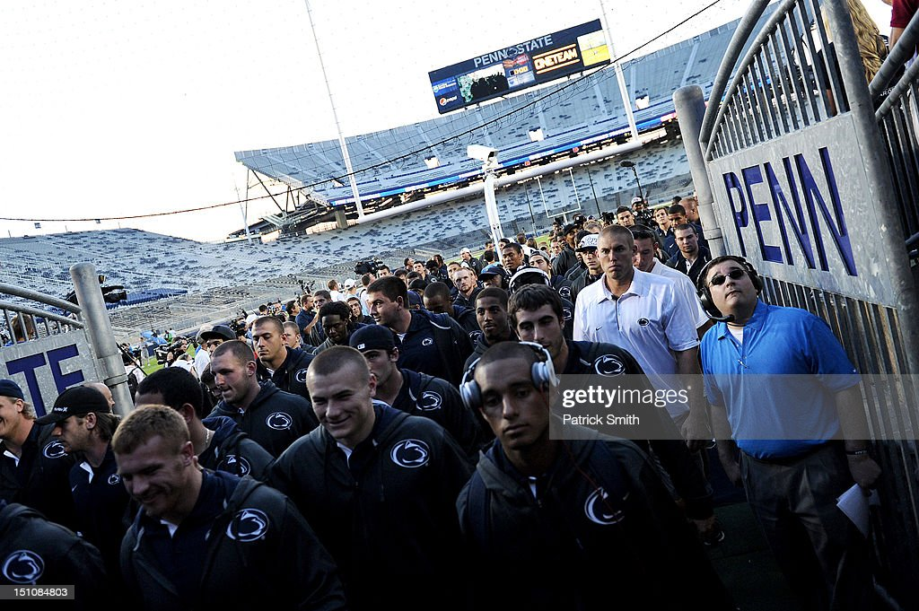 The Penn State Nittany Lions football team leaves the field following a pep rally at Beaver Stadium on August 31, 2012 in State College, Pennsylvania. Penn State will play it's first game under new head coach Bill O'Brien against Ohio University on September 1 following the death of former coach Joe Paterno.