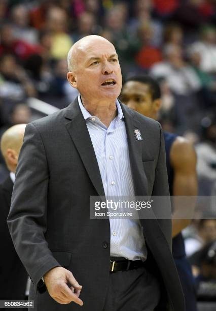 The Penn State Nittany Lions head coach Pat Chambers reacts during the second half in the second round of the Big 10 Tournament game between the...