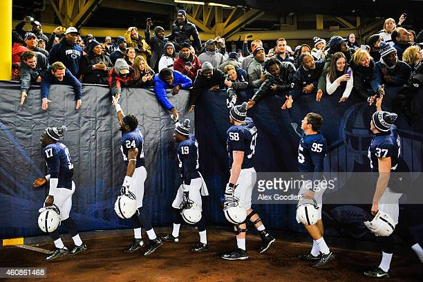 The Penn State Nittany Lions thank fans after defeating the Boston College Eagles in the 2014 New Era Pinstripe Bowl at Yankee Stadium on December 27...