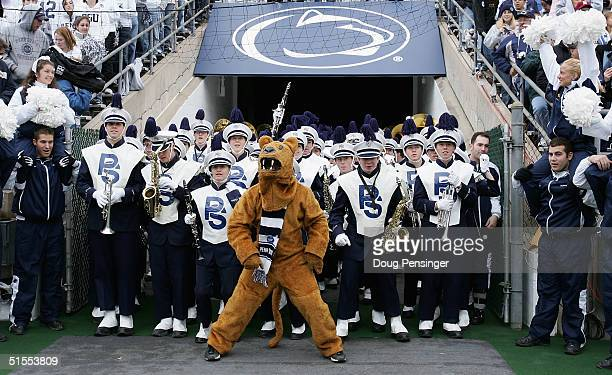 The Penn State Nittnay Lion prepares to usher the Blue Band onto the field as the Lion celebrated his 100th birthday in front of a home coming crowd...