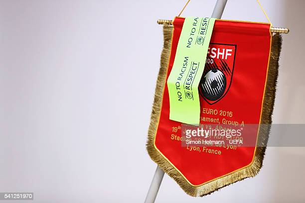 The pennant and a captain's arm band of Albania is hung in the dressing room prior to the UEFA EURO 2016 Group A match between Romania and Albania at...