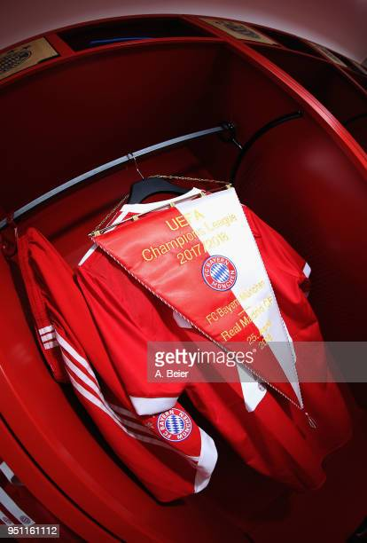 The pennant of FC Bayern Muenchen is pictured at the changing room before the UEFA Champions League Semi Final First Leg match between Bayern...