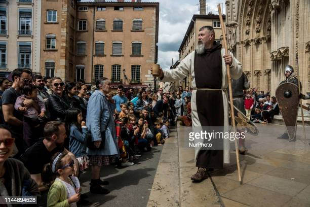 The Pennons of Lyon march through the streets of the old city of Lyon France on May 18 2019 For two days dozens of people will recreate life in the...