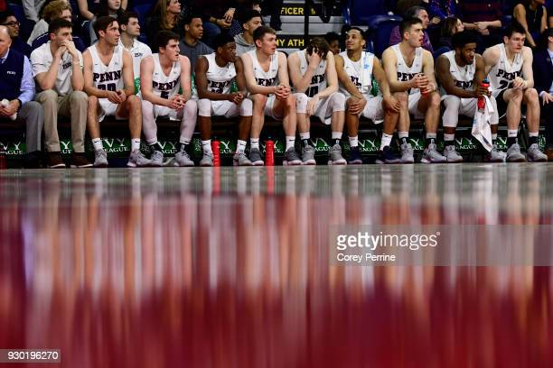 The Pennsylvania Quakers looks on against the Yale Bulldogs during the second half of a semifinal round matchup in the Ivy League Men's Basketball...