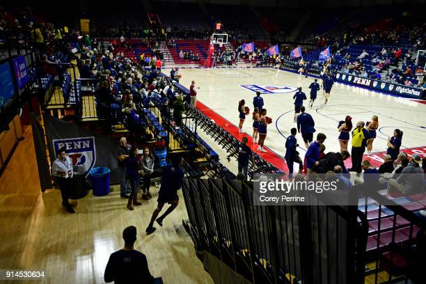 The Pennsylvania Quakers run onto the court before the game against the Yale Bulldogs at The Palestra on February 3 2018 in Philadelphia Pennsylvania...