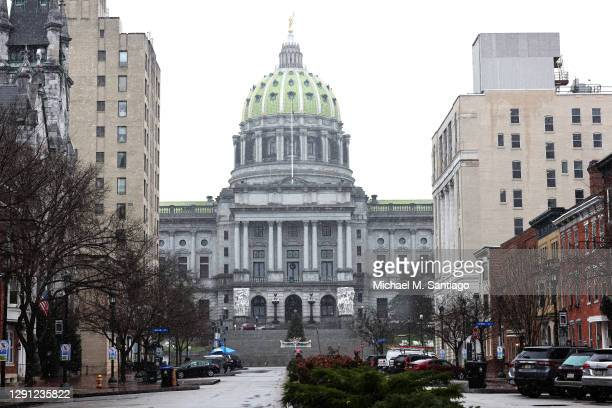 The Pennsylvania State Capitol is seen on December 14, 2020 in Harrisburg, Pennsylvania. Electors in Pennsylvania will meet today to certify the 2020...