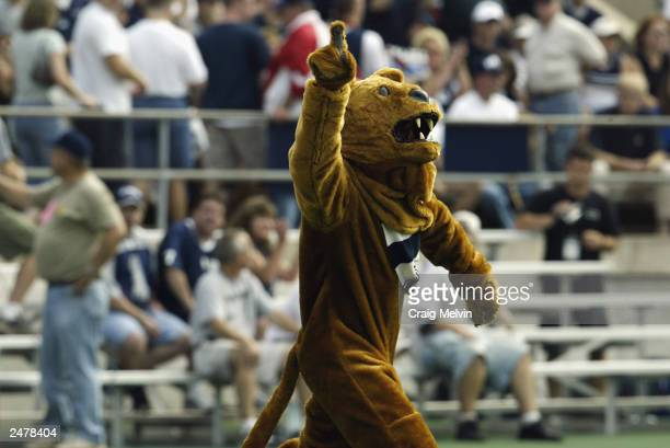 The Pennsylvania State University Nittany Lion mascot excites the crowd during the game against the Temple University Owls at Beaver Stadium on...