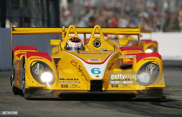 The Penske Racing Porsche RS Spyder of Sascha Maassen and Patrick Long leads the Porsche RS Spyder of Timo Bernhard and Romain Dumas during the...