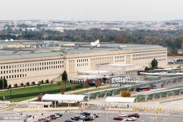 The Pentagon building located in Arlington County Virginia across the Potomac River from Washington DC