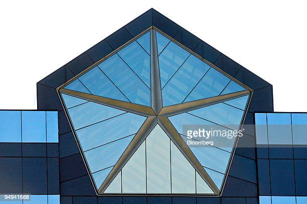 The Pentastar logo which was used by Chrysler LLC from 19622000 is displayed atop the company's headquarters in Auburn Hills Michigan US on Saturday...