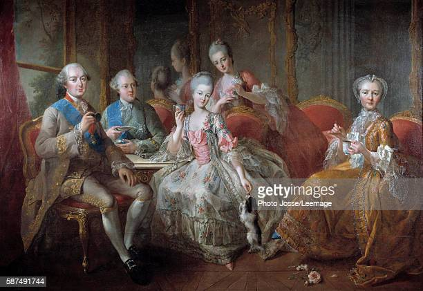 The Penthievre Family in 1768 or The Cup of Chocolate Portraits of the Duke of Penthievre his son the Prince of Lamballe Princess of Lamballe his...