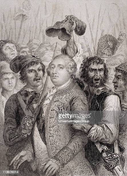 The People at the Tuileries, 20 June, 1792. Louis XVI 1754 1793. King of France 1774 1792. Engraved by J. Smith after Raffet.