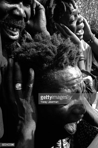 The People of Baye Fall practice traditional rituals Ziker repetition of the name of Allah in Mbake during the Magal De Touba April 23 2003 in Mbake...